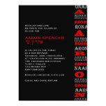 Negro rojo de la barra de Aaron de la invitación