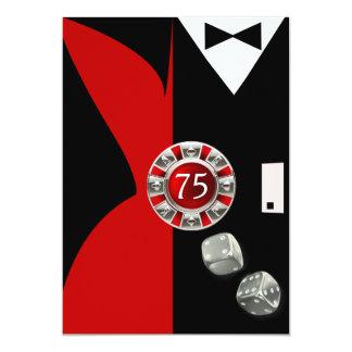 Negro rojo de la fiesta de cumpleaños de los pares invitación 12,7 x 17,8 cm