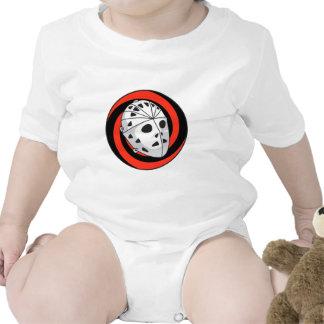 negro rojo de la máscara del hockey del portero trajes de bebé