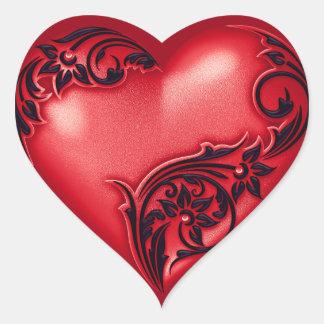 Negro rojo de la voluta w del corazón pegatina en forma de corazón