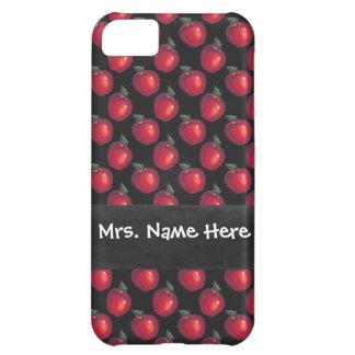 Negro rojo de las manzanas funda para iPhone 5C