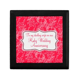 Negro rojo de rubíes de la caja de regalo de boda  joyero cuadrado pequeño