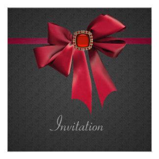 Negro rojo del arco del vintage todo el fiesta de invitacion personalizada