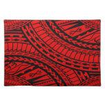 Negro rojo del arte azteca tribal manteles individuales