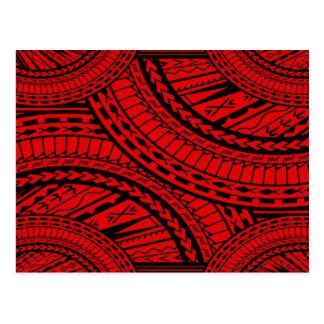 Negro rojo del arte azteca tribal tarjetas postales