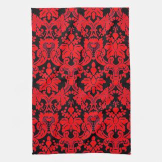Negro rojo del damasco elegante toalla
