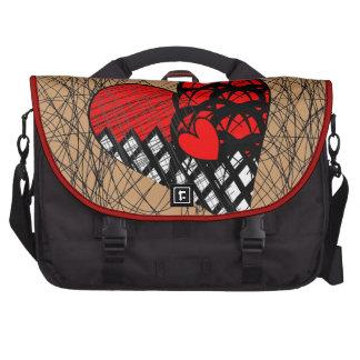 Negro rojo del Doodle del modelo de los corazones Bolsas De Portátil