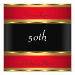 Negro rojo del oro de la fiesta de cumpleaños invitación 13,3 cm x 13,3cm