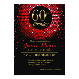 Negro rojo del oro del 60.o cumpleaños del confeti