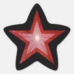 Negro rojo del pegatina de la estrella-forma de la