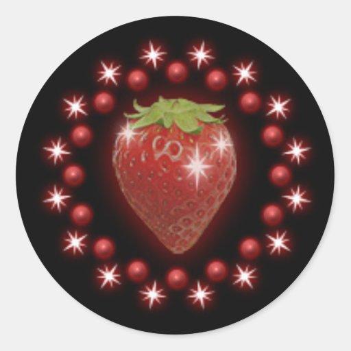 Negro rojo del pegatina de la perla de la fresa