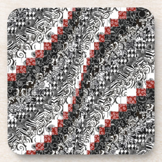 Negro rojo del personalizar del modelo del edredón posavaso