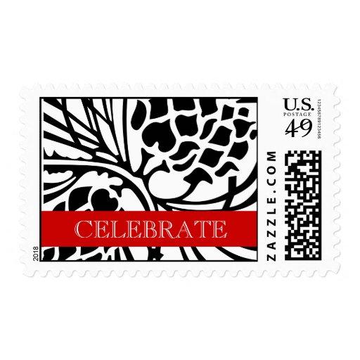 Negro rojo del pino de los sellos del boda