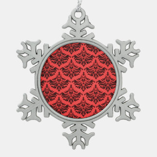 Negro rojo del vintage del damasco del Flourish re Adorno De Peltre En Forma De Copo De Nieve