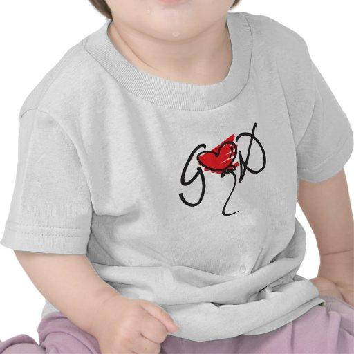 Negro/rojo en el diseño blanco de DIOS que eleva Camiseta