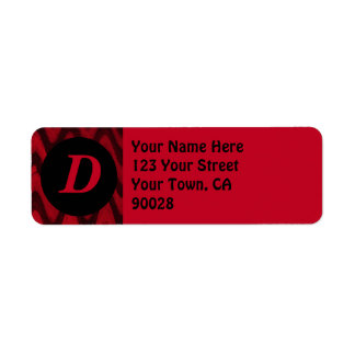 negro rojo etiqueta de remite