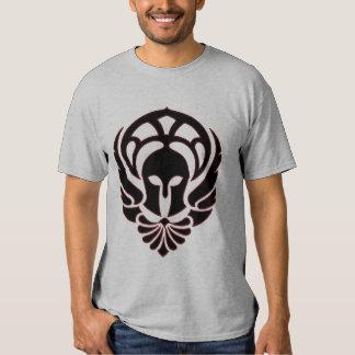 Negro/rojo griegos de la camiseta del guerrero playeras