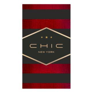 Negro, rojo moderno y oro elegantes rayados tarjeta de visita