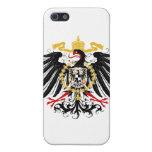 Negro rojo prusiano y oro de Eagle iPhone 5 Protector