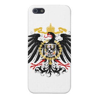 Negro rojo prusiano y oro de Eagle iPhone 5 Carcasas