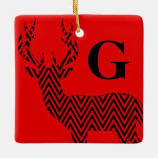 Negro rojo rústico del monograma el | de Chevron Adorno Navideño Cuadrado De Cerámica