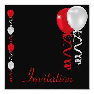 """Negro rojo y el blanco hincha acontecimiento invitación 5.25"""" x 5.25"""""""