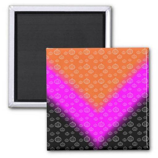 Negro rosado anaranjado del modelo de la calabaza imán cuadrado
