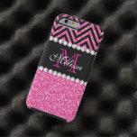 Negro rosado Chevron del brillo con monograma Funda De iPhone 6 Tough