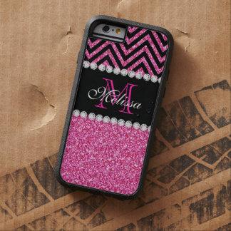 Negro rosado Chevron del brillo con monograma Funda De iPhone 6 Tough Xtreme