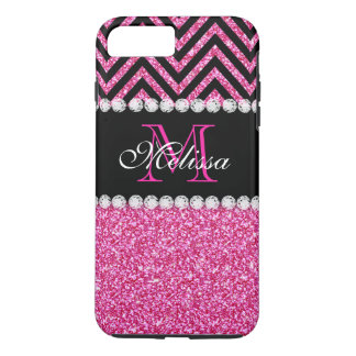 Negro rosado Chevron del brillo con monograma Funda iPhone 7 Plus