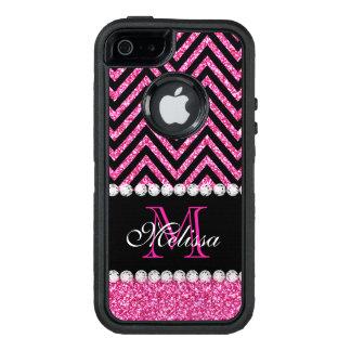 Negro rosado Chevron del brillo con monograma Funda OtterBox Defender Para iPhone 5
