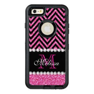 Negro rosado Chevron del brillo con monograma Funda OtterBox Defender Para iPhone 6 Plus