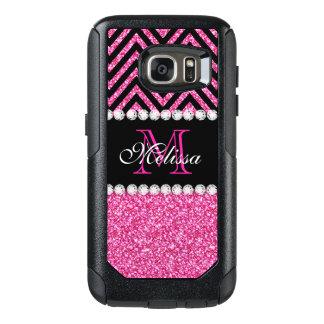Negro rosado Chevron del brillo con monograma Funda Otterbox Para Samsung Galaxy S7