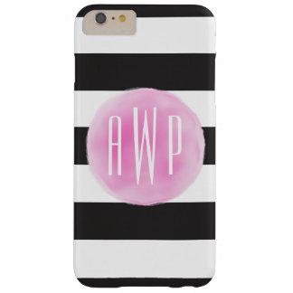 Negro rosado con monograma de la acuarela + Rayas Funda De iPhone 6 Plus Barely There