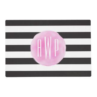 Negro rosado con monograma de la acuarela + Rayas Tapete Individual