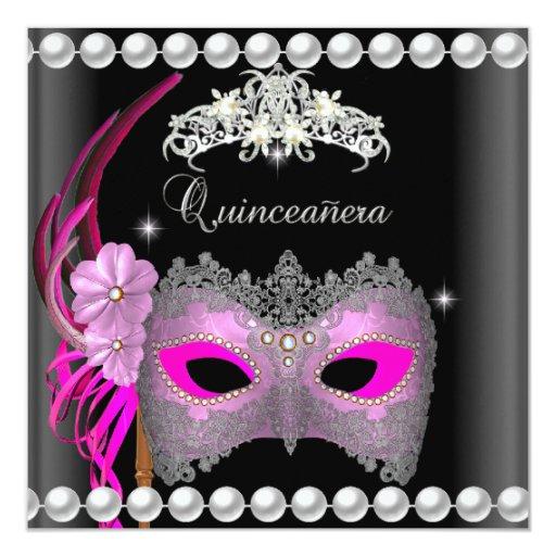 """Negro rosado de la plata de la máscara de la tiara invitación 5.25"""" x 5.25"""""""