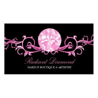 Negro rosado de la resplandor del diamante 311 tarjeta personal