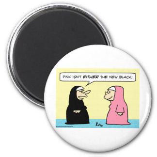 negro rosado de las monjas nuevo imán redondo 5 cm