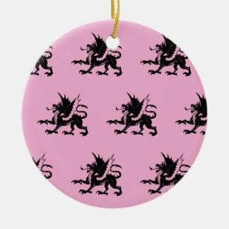 Negro rosado de los dragones ornamentos de navidad
