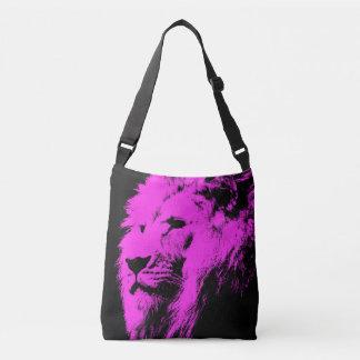 Negro rosado del león bolsa cruzada