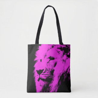 Negro rosado del león bolsa de tela