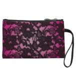 Negro rosado floral del cordón del monedero lindo