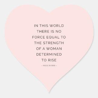 Negro rosado inspirador de las citas de la mujer pegatina en forma de corazón