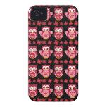 Negro rosado lindo bonito del modelo de los búhos  iPhone 4 Case-Mate protectores