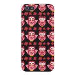 Negro rosado lindo bonito del modelo de los búhos  iPhone 5 fundas