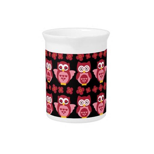 Negro rosado lindo bonito del modelo de los búhos  jarras para bebida