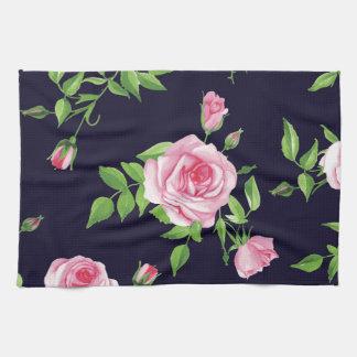 Negro, rosado, rosas, lamentable, elegantes, toallas de mano