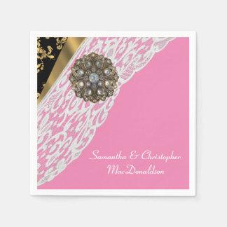 Negro rosado y boda blanco del cordón del oro servilleta desechable