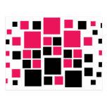 Negro/rosas fuertes cuadrados del arte del diseño tarjetas postales