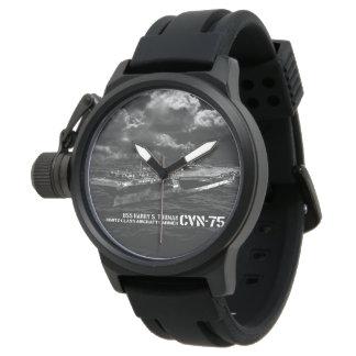 Negro Rubb del protector de la corona de CVN-75 Reloj De Mano